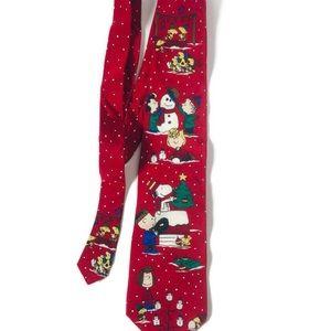 Peanuts Charlie Brown Snoopy VINTAGE Christmas Tie
